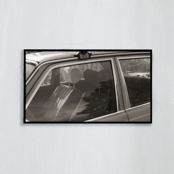 Frame TV Art, Digital downloadable TV art photography, Black and white photography of a vintage mercedes-benz, Art for digital