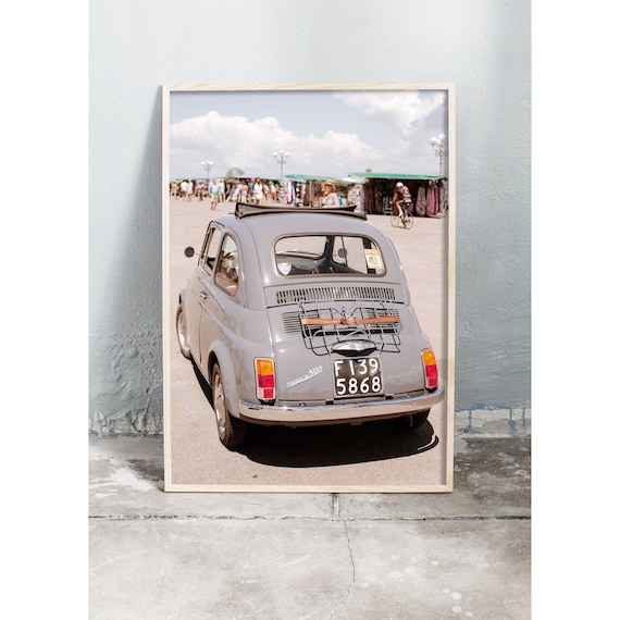 Photography art print of a vintage gray Fiat in Florence, Italy. Printed on high quality, matte paper.