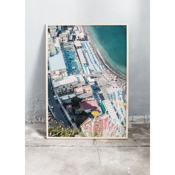 Photography art print from above the beach in Sorrento, Italy. Print is printed on a high quality, matte paper.