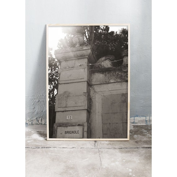 Black and white digital downloadable photo of old stone wall in Sestri Levante in Italy.