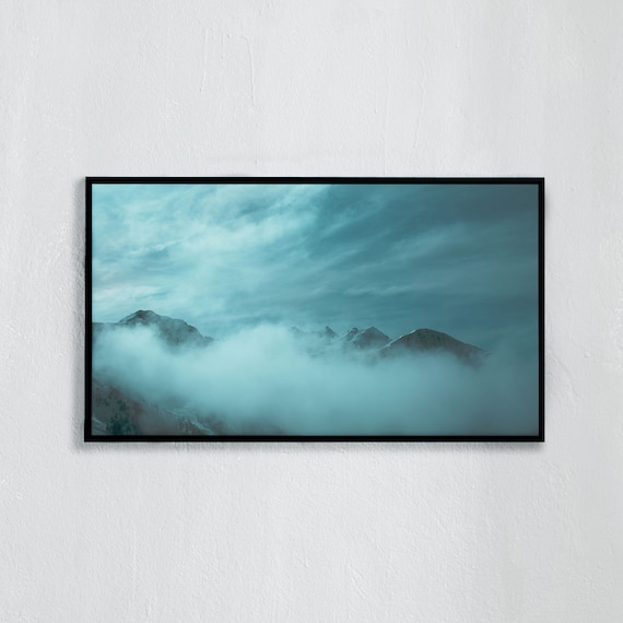 Frame TV Art, Digital downloadable art, Art work of the Swiss Alps, Snowy mountains sticking up through the clouds in Switzerland