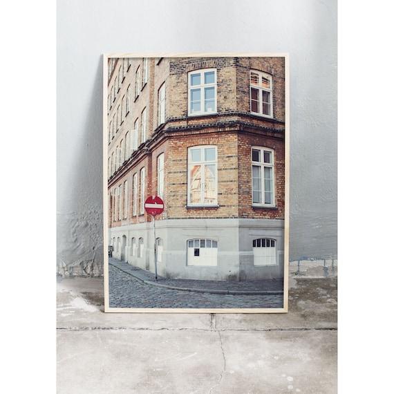 Photography print of an old brick building in Christianshavn, Copenhagen.