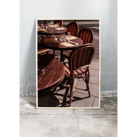 Photography art print of cafe in Paris. Print is printed on a high quality, matte paper.