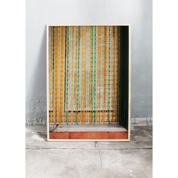 Photography art print of colourful curtain in Italy. Printed on high quality, matte paper.