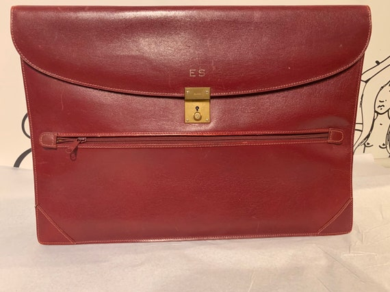 70's Monogrammed Gucci Burgundy Leather Briefcase