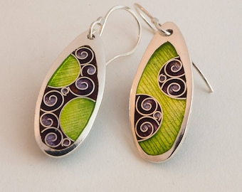 Purple and Green Yin Yang Earrings –Cloisonné & Champlevé Enamels on Fine Silver with Sterling Ear Wires
