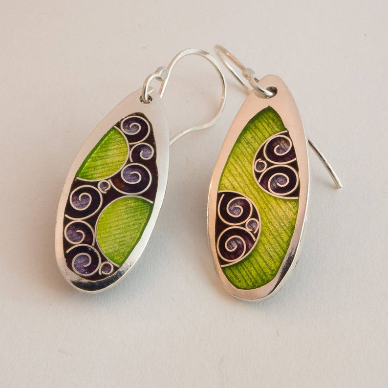 Purple and Green Yin Yang Earrings Cloisonné & Champlevé image 0
