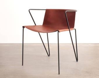 MOD 1 Chair - Vintage Industrial Art metal Wall Unit sitting oak Danish Chair seat stool desk mid century modern contempory felt danish wire