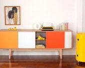 S180 Sideboard - Mid century modern Entertainmnet unit Vintage Industrial Art Cabinet. Storage buffet Danish Retro wood. Mid century teak.