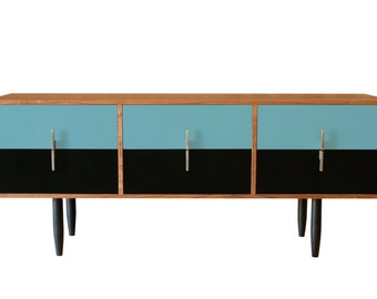 E150 Chest of Drawers in a two tone laminate - Storage Vintage Industrial Art Cabinet. Sideboard walnut Danish Retro wood. Mid-century teak.
