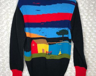 RARE 70s turtle neck sweater farm landscape