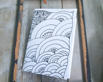 Black White Graphic Notebook, Doodled Sketchbook, Zentangle Notebook ,Sewn Jotter