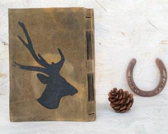 Rustic Guest Book, Boyfriend Gift ,  Husband Book ,Deer Head Print , Recipe Journal , Scrapbook Album , Gift For Him , Gift for Father