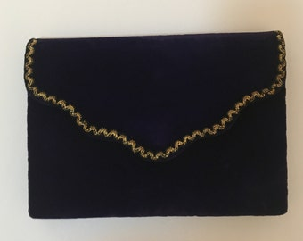 d3ed47039aa0 YSL Yves Saint Laurent Vintage Purple Velvet Clutch with Gold embroidery