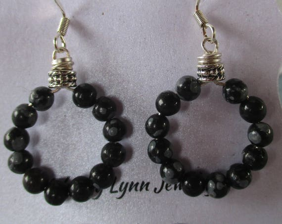 Snowflake Obsidian Hoop Earrings E1025174