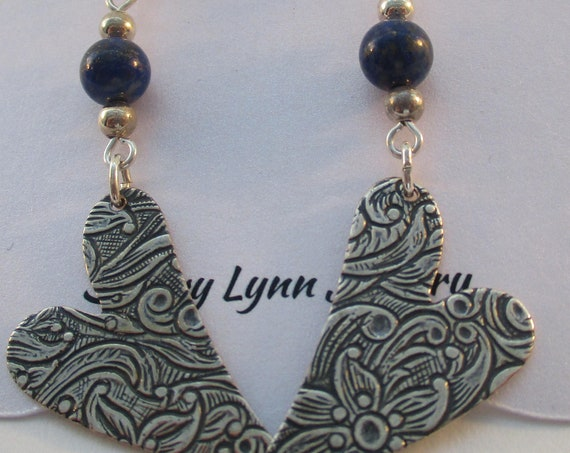 Lapis Lazuli and Embossed Heart Charm Earrings E626174