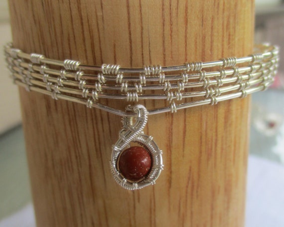 Red Jasper Wire Wrapped Bracelet B65187