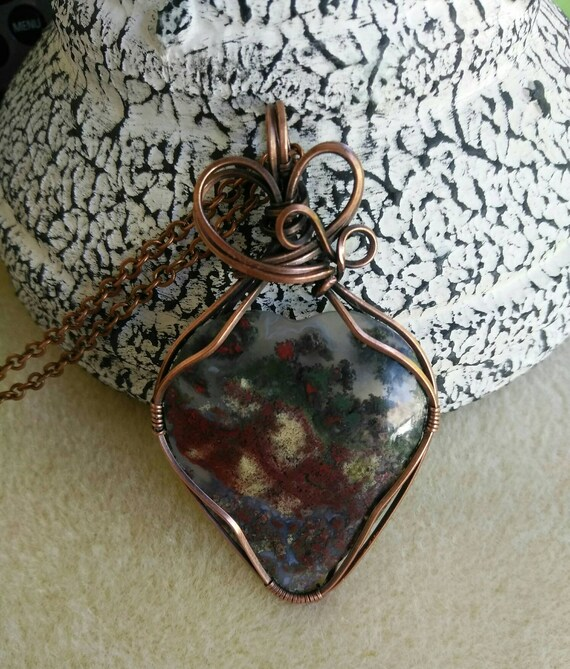 Scenic Moss Agate Wire Wrapped Pendant Necklace N917182