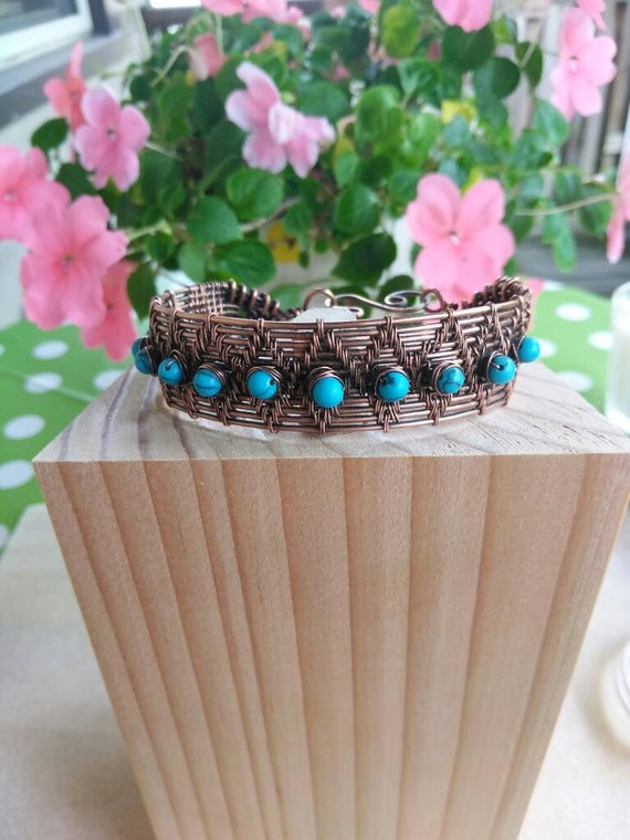Howlite Copper Wire Wrapped Cuff Bracelet B83183