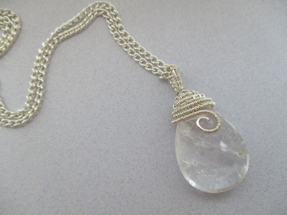 Crystal Quartz Woven Wire Wrapped Briolette Pendant N423181