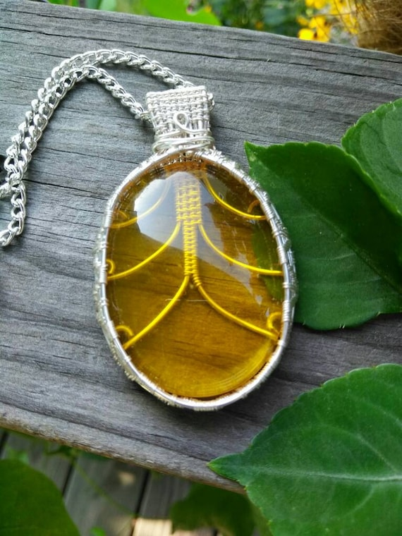 Citrine Wire Wrapped Pendant Necklace N88181