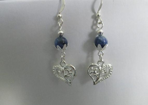Sodalite and Heart Charm Earrings E6161716