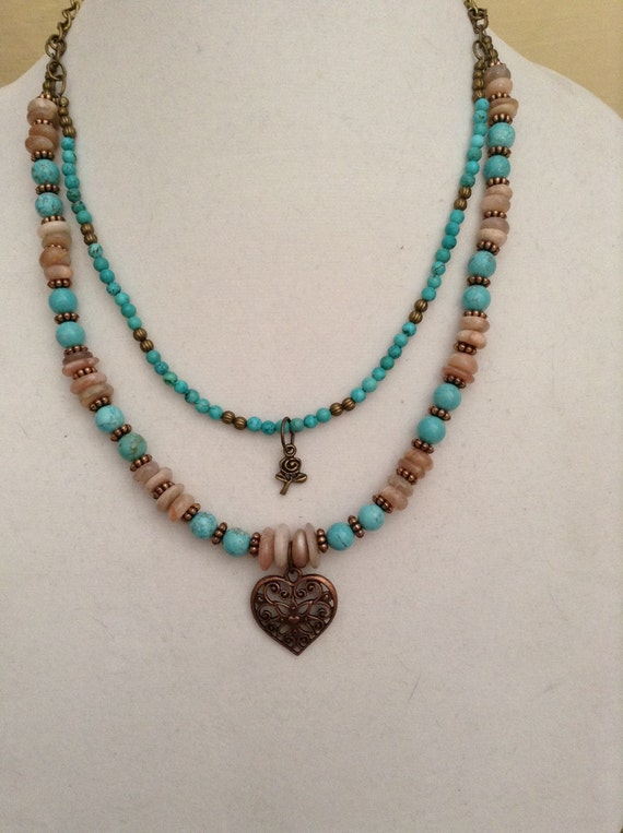 Sunstone and Magnesite Layered Necklace N6151738