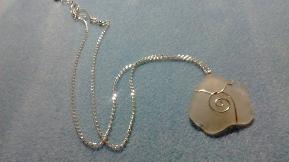 White Wire Wrapped Authentic Sea Glass and Sterling Silver Necklace SG615172