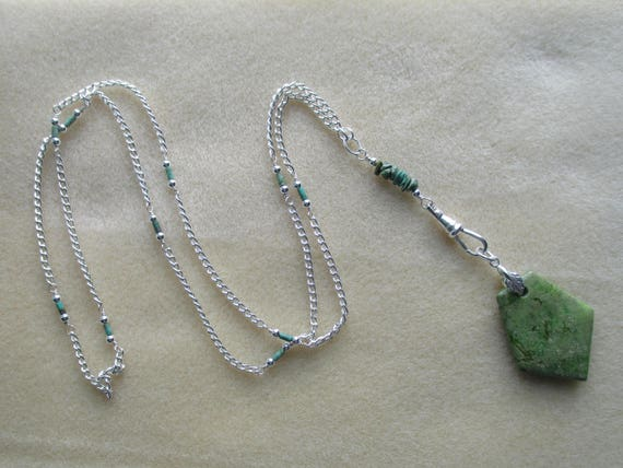 Green Turquoise Convertible Lanyard / ID Badge Necklace L112172