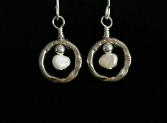 Freshwater Pearl and Sterling Silver Hammered Pendant Earrings