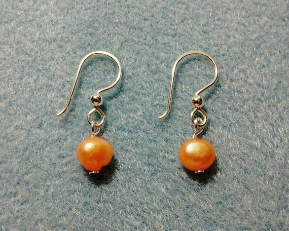 Peach Freshwater Pearl and Sterling Silver Earrings ESS6151785