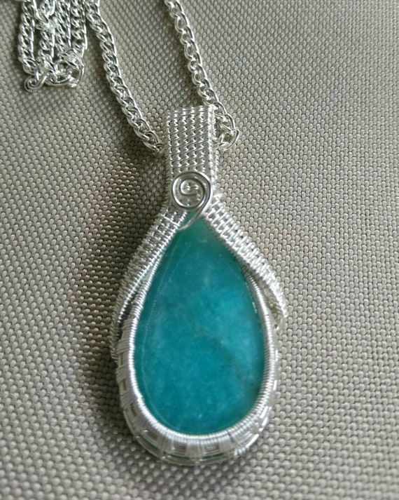 Amazonite Wire Wrapped Pendant Necklace N823183