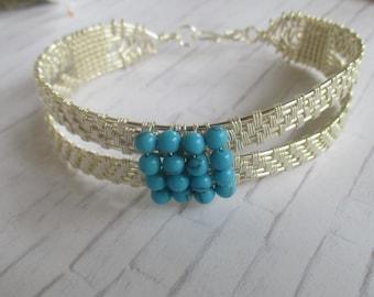 Howlite Wire Wrapped Cuff Bracelet B65183