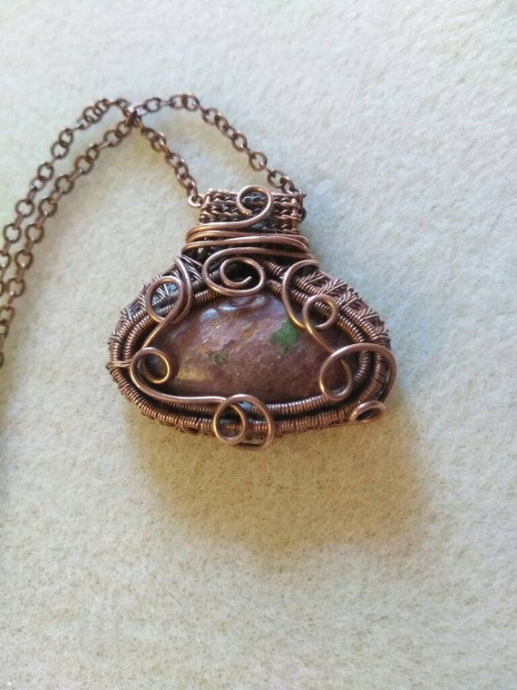 Muscovite and Copper Wire Wrapped Pendant Necklace, Woven Wire Muscovite Pendant, Copper Wire Wrapped Pendant,  Muscovite Necklace N1114181