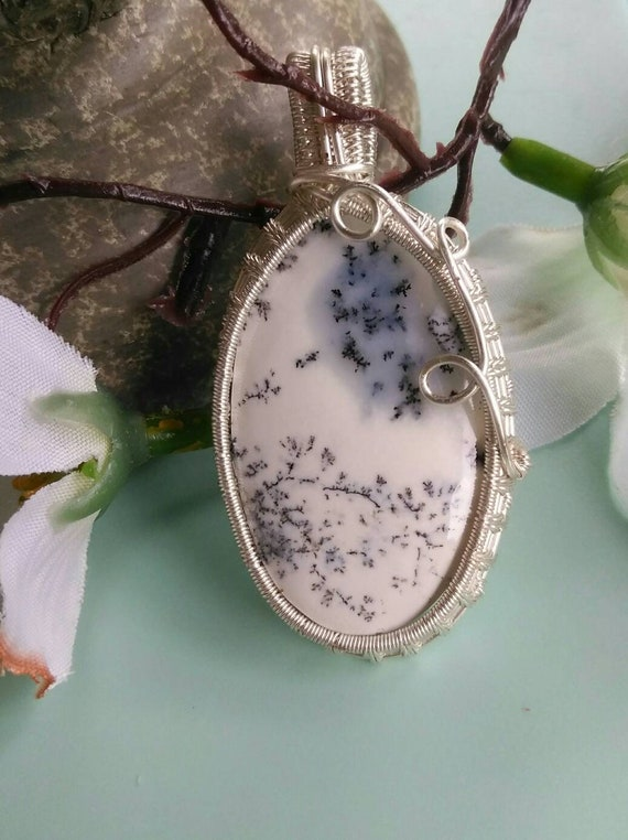Dendrite Opal Wire Wrapped Pendant Necklace N912181