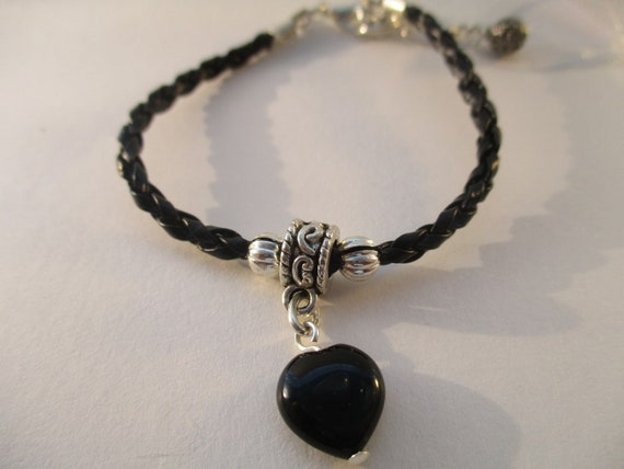 Black Onyx Heart and Braided Cord Bracelet B919173