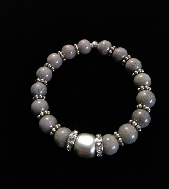 "Malaysian ""Jade"" and Swarovski Pearl Stretch Bracelet B6151774"