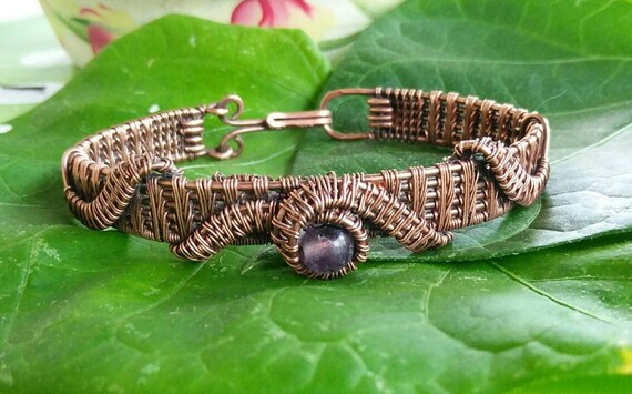 Amethyst and Copper Wire Wrapped Bracelet B823184