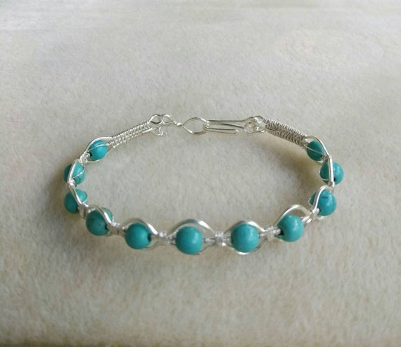 Magnesite Wire Wrapped Bracelet B921181