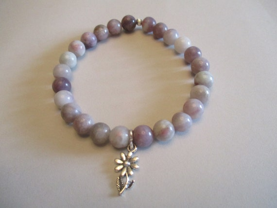 Lilac Stone and Flower Charm Stretch Bracelet B6151776