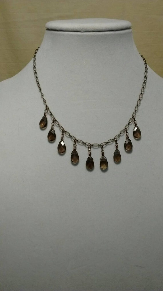 Smokey Quartz Briolette Necklace N6151740
