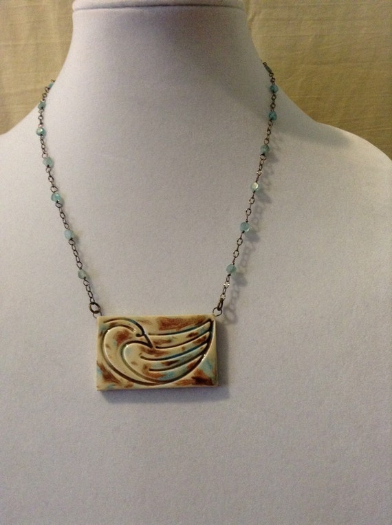 Apatite Necklace with Handcrafted Ceramic Pendant N6151737