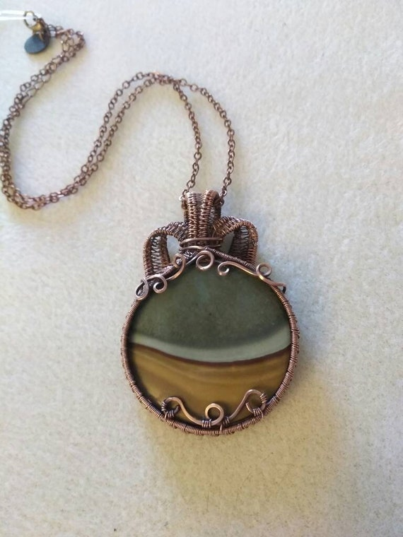 Landscape Jasper Wire Wrapped Pendant Necklace, Landscape Jasper Woven Wire Pendant Necklace N1114183