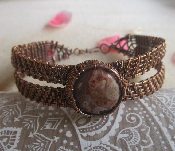 Bird's Eye Jasper Copper Cuff Bracelet B83181