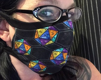D20 dice premium fabric custom made within 2 weeks fitted face mask with or without filter pocket knit strap/ties kids - adult Tabletop game