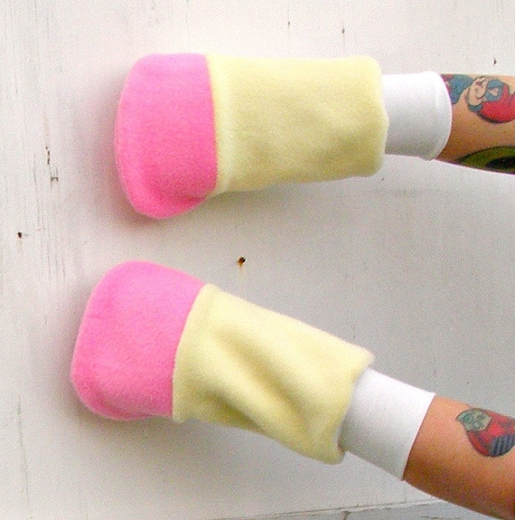 Fluttershy pony yellow pink arm warmers gloves