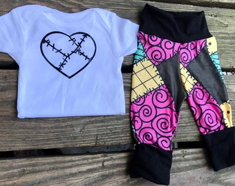 Sally Stitches baby onesie or toddler tshirt and grow with me joggers set  layette  Halloween Skellington