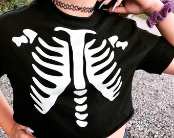 Spooky kid cropped glow in the dark skeleton torso goth baby  youth shirt tshirt  costume gothic Crop top
