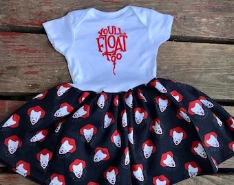 It killer clown Onesie baby dress or toddler tshirt dress horror movie