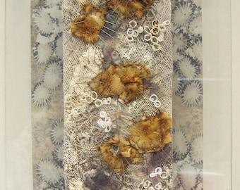 TEXTILE ART, EMBROIDERY - 'Barnacles' , embroidered art, fibre art, stitched art, art, original art.